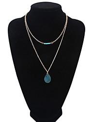 Femme Pendentif de collier Cristal Perle Résine Turquoise Alliage Bijoux Pour Mariage Soirée Quotidien Décontracté 1pc