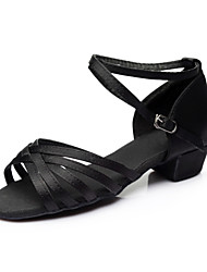Customizable Women's / Kids' Dance Shoes Satin / Paillette Satin / Paillette Latin Sandals / Heels / Sneakers Chunky HeelPractice /