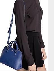 Women PU Shopper Shoulder Bag - Blue / Black
