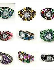 Round Shape Quartz Movement With Cubic Zirconia Bracelet Watch