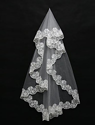 Wedding Veil One-tier Blusher Veils / Shoulder Veils / Elbow Veils / Fingertip Veils Lace Applique Edge Tulle Ivory White / Ivory