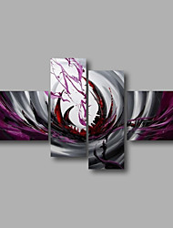 "Ready to Hang Stretched Hand-Painted Large Oil Painting 72""x40"" Canvas Wall Art Modern Abstract Purple Grey"