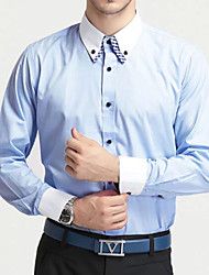 Men's White/Black/Blue Plus Size Fashion Double Collar Shirt