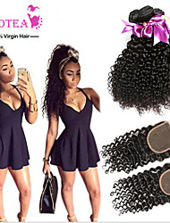 Malaysian curly hair lace closure with bundles 3pcs malaysian kinky curly virgin hair bundles with lace closures