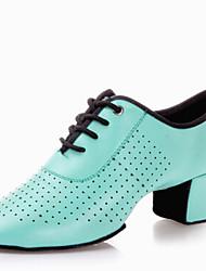 Chaussures de danse ( Noir / Vert / Rouge / Or ) - Non Personnalisables - Talon Bas - Cuir - Latine