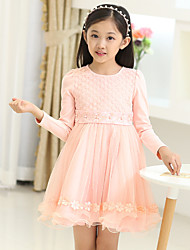 Girl's Pink / Beige Dress,Floral Cotton Fall