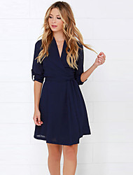 Women's Work Solid A Line Dress , V Neck Above Knee Cotton