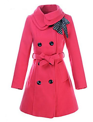 Winter  Women's Solid Color Red Coats & Jackets , Sexy / Casual / Work Pan Collar Long Sleeve