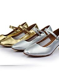 Customizable Women's Girl's Dance Shoes Latin / Modern/Ballroom Leatherette Customized Heel Black / Silver / Gold