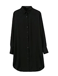 Chemise Aux femmes,Couleur Pleine Décontracté / Quotidien simple Automne Manches Longues Col de Chemise Blanc / Noir Coton Moyen