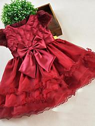 Vestido Chica deUn Color-Poliéster-Otoño-Rojo