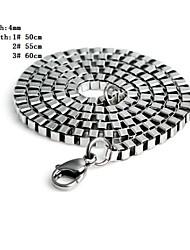 4mm Silver Titanium Steel Length Necklace for Men