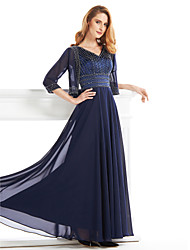 Lanting A-line Mother of the Bride Dress - Dark Navy Ankle-length Half Sleeve Chiffon