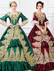 Steampunk®Wine Red/Green Long Sleeves Lace-up Princess Symposium Victorian Royal Vintage Long Prom Dresses