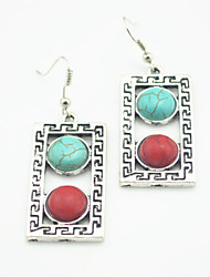 Vintage Look Antique Silver Plated Square Turquoise Stone Drop Dangle Earring(1Pair)