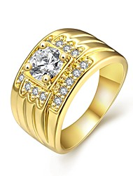 Fashion Decent Women's  White Zircon Gold-Plated Brass Statement Rings(Golden,Rose Gold,)(1Pcs)