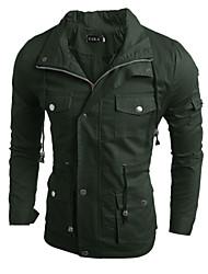 Men's Long Sleeve Jacket , Cotton / Linen / Acrylic Casual / Work / Formal / Sport / Plus Sizes Pure