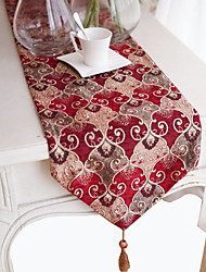 Classical Floral Pattern Red Table Runner