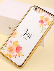 teste padrão de flor pedaço de luxo chapeamento caso de telefone TPU para iphone 6 / 6s