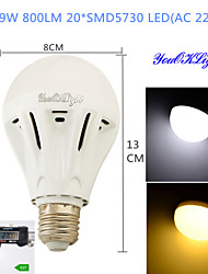 Ampoules Globe LED Décorative Blanc Chaud / Blanc Froid YouOKLight 1 pièce B E26/E27 9W 20 SMD 5730 800 LM AC 100-240 V