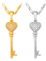 U7 New Luxury Cubic Zirconia  Heart Key Pendant Necklace 18K Real Gold  Plated Jewelry Gift for Women High Quality