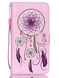 Pink Campanula Pattern PU Material Card Lanyard Case for Samsung S3/S4/S5/S6/S6 Edge/S6 Edge Plus/S3mini/S4mini/S5mini