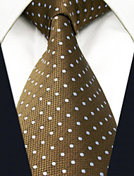 Men's Tie Khaki Dots 100% Silk  Casual  Dress
