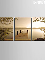 E-HOME® Stretched Canvas Art The Lake Scenery Decoration Painting  Set of 3