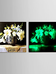 Oil Painting Noctilucent Flower Hand Canvas linen Solid wood frame frameless paintings