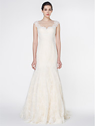 LAN TING BRIDE Trumpet / Mermaid Wedding Dress See-Through Sweep / Brush Train Jewel Lace with Button Lace