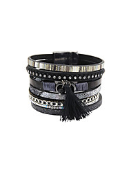 Fashion Women Vintage Decorated Magnet Buckle Leather Bracelet
