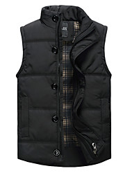 Men's Sleeveless Vest , Cotton Casual / Work / Formal / Sport / Plus Sizes Pure