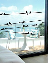 Wall Stickers Wall Decals, Exquisite Engrave Creative Birds Utility Pole PVC Wall Stickers with Transfer Film