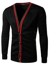Men's Casual/Daily Simple Regular Cardigan,Color Block Black / Gray V Neck Long Sleeve Cotton Spring / Fall Medium Micro-elastic
