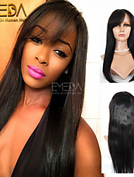 100% Virgin Brazilian Full Lace Human Hair Wigs With Bangs Lace Front Wig Straight Full Lace Wig For Black Woman