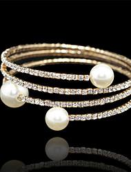 Bracelet Grappe / Tennis / Bracelet Rond Imitation de perle / Dorage 18K Perle imitée Femme