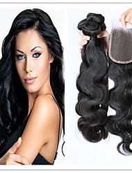 4Pcs/Lot Cheap Price! Unprocessed  Virgin Brazilian Hair Body Wave Hair Weave And Top Lace Closure Human Extensions