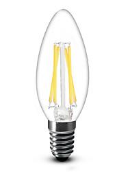 4W E14 Luzes de LED em Vela C35 4 COB 400 lm Branco Quente Regulável AC 220-240 V 1 pç