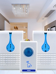 501K3 32-Melody Wireless Remote Control Transmitter + 2 Receivers Doorbell Set - White + Blue