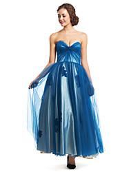 Vestido - Tinta Azul Festa Formal Linha-A Curação Longuete Tule
