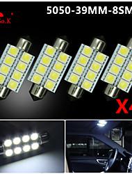 4 X White 39MM 5050 8SMD Festoon Dome Map Interior LED Light bulbs DE3423 6418