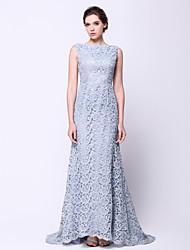 Formal Evening Dress Trumpet/Mermaid Bateau Sweep/Brush Train Lace