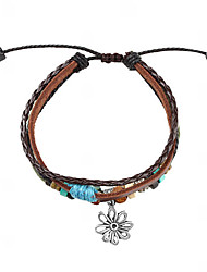 leather Charm Bracelets Z&X®  Fabric and Leather Bracelet Multilayer Vintage Bracelet with Flower Jewelry