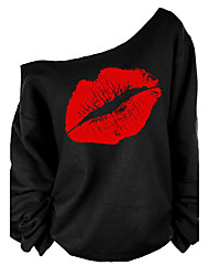 Women's Print Red / White T-shirt , One Shoulder Long Sleeve