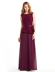 Lanting Sheath/Column Mother of the Bride Dress - Grape Ankle-length Sleeveless Chiffon / Lace