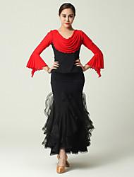 Roupa ( Preto / Vermelho , Tule / Viscose , Dança Moderna ) - de Dança Moderna - Mulheres