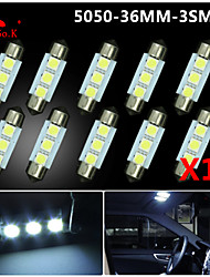 10X White 36mm 3 5050 SMD Festoon Dome Map Interior LED Light Lamp DE3175 3022 12V