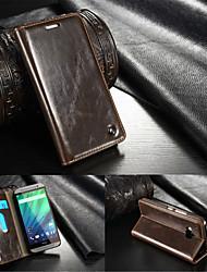 Pour Coque HTC Portefeuille Porte Carte Avec Support Clapet Coque Coque Intégrale Coque Couleur Pleine Dur Vrai Cuir pour HTC