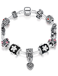 Vintage Women's Rose Rhinestones Stoving Varnish Silver Plated Tin Alloy Charm Bracelet(Black)(1Pc)