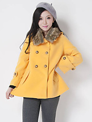 Women's Solid Red / Yellow / Beige Coat , Casual Long Sleeve Cotton